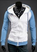Two Tone Mixed Color Hooded Sweater Jacket (White