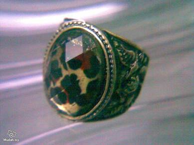 ABRB-L005 Vintage Brass Leopard Grave Ring Sz 6