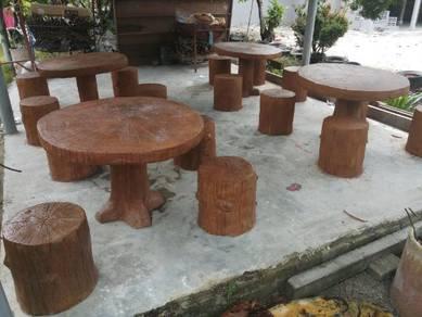 Meja batu simen ferro kayu