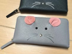 Authentic Kate spade wallet grey meow limited