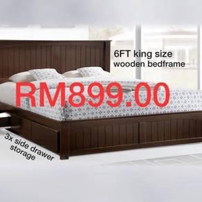 King size wooden bedframe