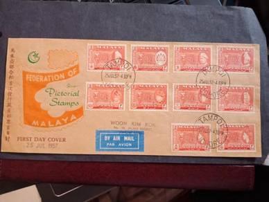 FDC MALAYA 10 States 1957 No 3455