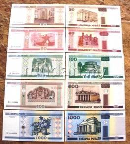 Belarus 5 unc notes 20,50,100,500,1000 ruble
