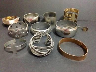 Chunky Metal Bracelets x 10