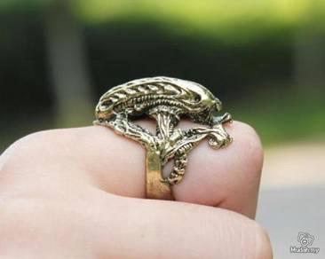 ABRB-L004 Punk Goth Bronze Lizard Ring Size 6.5