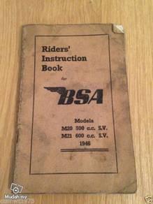 M20 & M21 BSA 1946 Riders Instruction Book norton