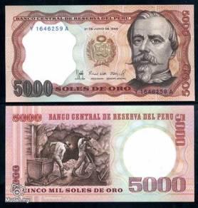Peru 5,000 soles de oro 1985 p 117 c unc