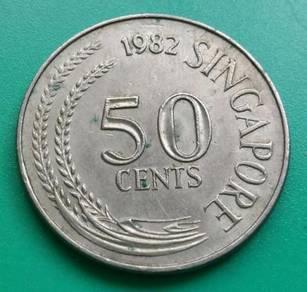 Duit Syiling 50 Cents Singapore 1982 (A)