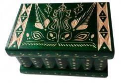 Green wood treasure jewelry puzzle box hidden key