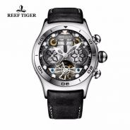 Reef Tiger/RT Mens Sport Watches Big Skeleton Dial