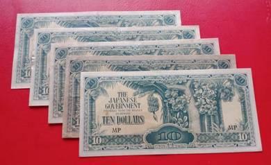 JIM Duit Zaman Jepun 10 Dollars (5 pcs)-Set B