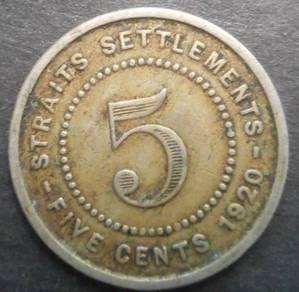 Straits Settlements 1920 KGV large 5 Cent