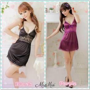 Muimui Woman Nightdress Black & Purple MA7004