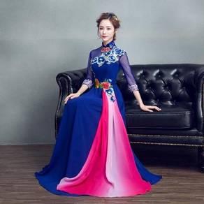 2XL Royal Blue Dress Cheongsam Dinner Maxi Dress