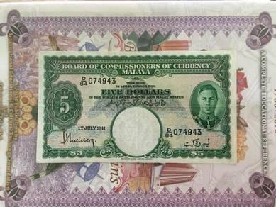 5 Dollars Malaya 1941 King George VI