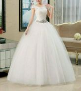 Plus size wedding gown short sleve ready stock