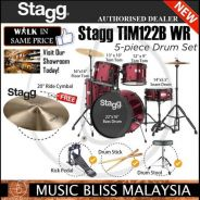 Stagg TIM122B Full Size Adult 5Piece Drum Wine Red
