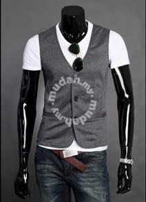 Slim Type Classic Vest Mens Waist Coat (Dark Grey)