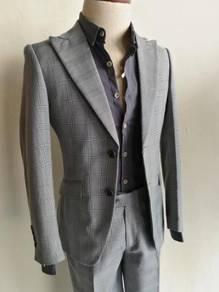 2 Button Grey Checks Men's Slim Suits #1323