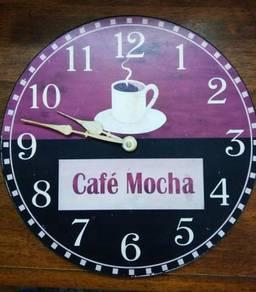 Vintage Wooden Wall Clock Cafe Mocha