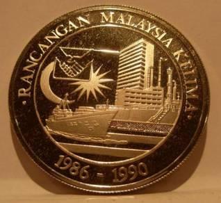Malaysia 1986 Silver 25 Ringgit PROOF 5th Malaysia