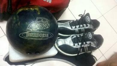 Bowling seat, bola, kasut, beg