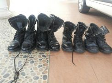 Kasut boot kulit & kawad
