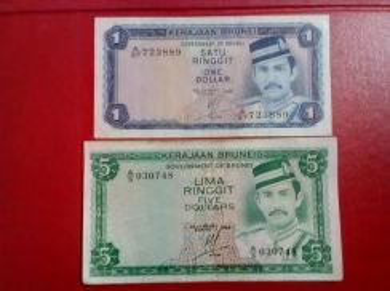 SATU & LIMA RINGGIT Brunei A/37 73889 & A/5 030748