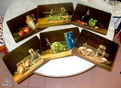 Vintage Cork Placemats Vegetable Series UK (1970s)