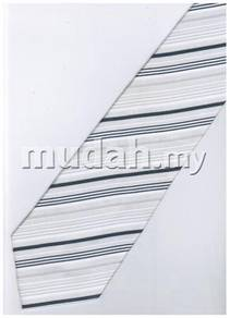 ES9 Silver White Quality Striped Formal Neck Tie