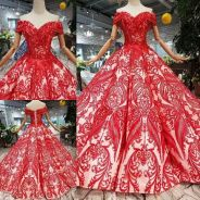 Red prom wedding bridal dress gown RB0934