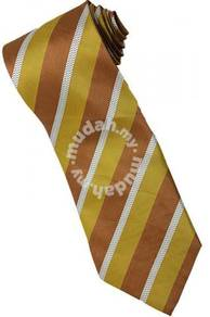 EBR1 Gold Brown White Striped Formal Neck Tie