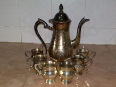 Silver plated brass tea set teko cawan tembaga