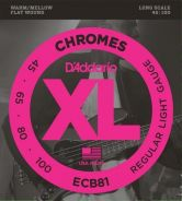 D'Addario ECB81 Chromes Bass, Light, 45-100, Long