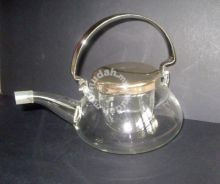 Glass Teapot with Silver-Plated Handle and Cap
