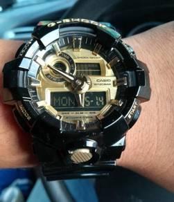 Casio g shock ga 710 black resin gold (preloved)