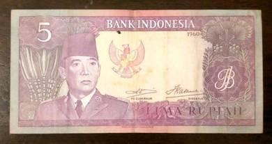 Duit Sukarno 5 Rupiah 1960 Rare - Duit Lama
