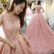 Pink fishtail wedding bridal dress gown RB0947