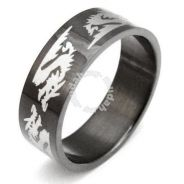 ABRSS-D004 6 Dragon Black Stainless Ring - Size 9