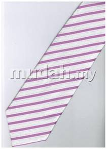 EPK03 Pink White Blinking Striped Formal Neck Tie