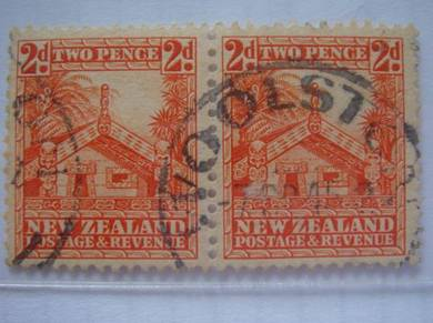 1936 N.Zealand 2d Maori House Stamps,Blk in 2-Used