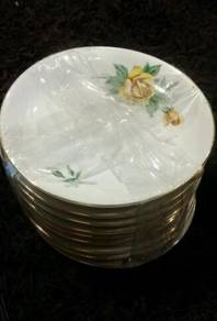 9Pcs vintage yellow roses Chinese saucers SLG