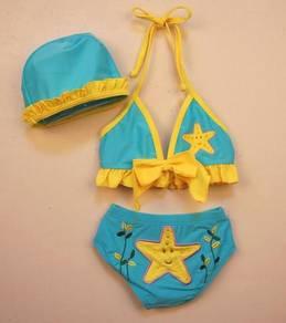 (SS10-L) New Blue Star Bikini Swimsuit For Kids