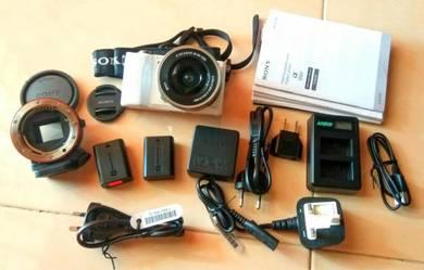 Sony A5000 set dan Free Sony lens adapter LA-EA1
