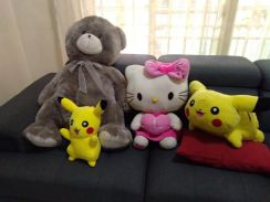 Bear, Hello Kitty and Pikachu