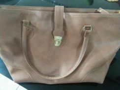 Mix leather han bag