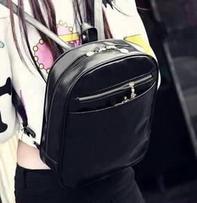 1610 Retro Korean Style Trendy Backpack Black Bag
