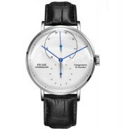 FEICE Men's Stainless Steel Black Leather Watch