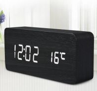 Futuristic LED Alarm Temp Sound Control Clock
