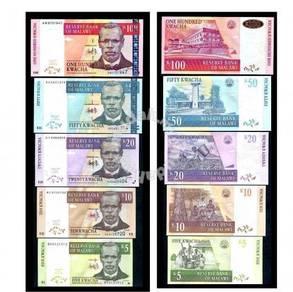 Malawi banknotes 5 pcs in set 5 10 20 50 100 kwach
